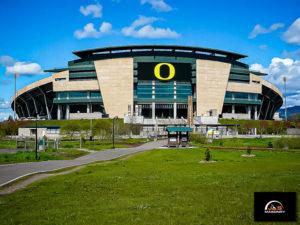 Example of J&S Masonry's masonry construction at Autzen stadium at the University of Oregon on a sunny day